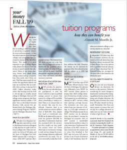 2009_Sept Oct_GMM_Tuition programs how they can benefit you_Downriver Profile