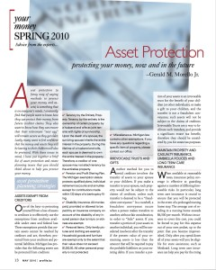 Asset Protection Protecting your money, now and in the future