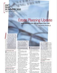 Estate Planning Update; understanding the new michigan trust code